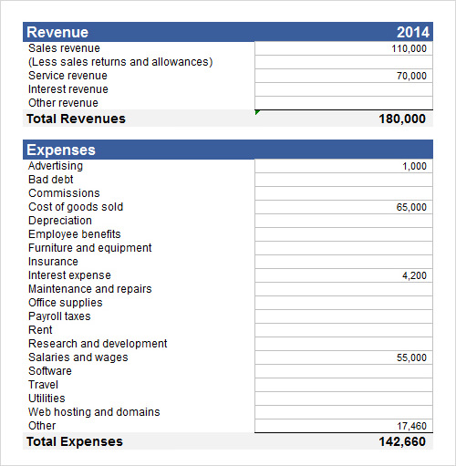 word 2013 income statement