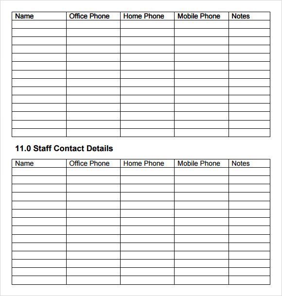 Business Continuity Plan Blank Template Shefftunes