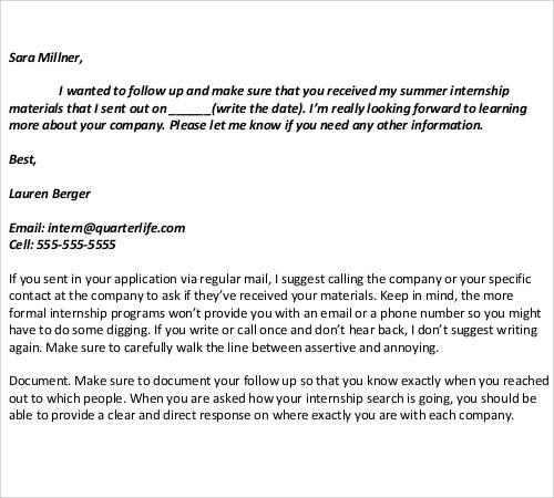 internship follow‐up email after interview
