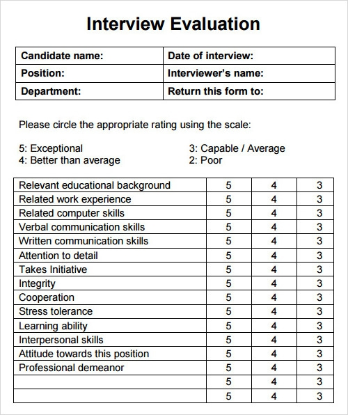 Interview Evaluation Template  Feedback Form Template Free