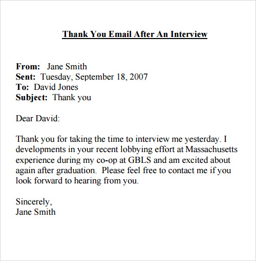 Interview Thank You Email Template  Best Business Template