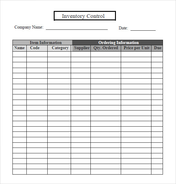 Inventory Tracking Sample   Documents In  Word Excel