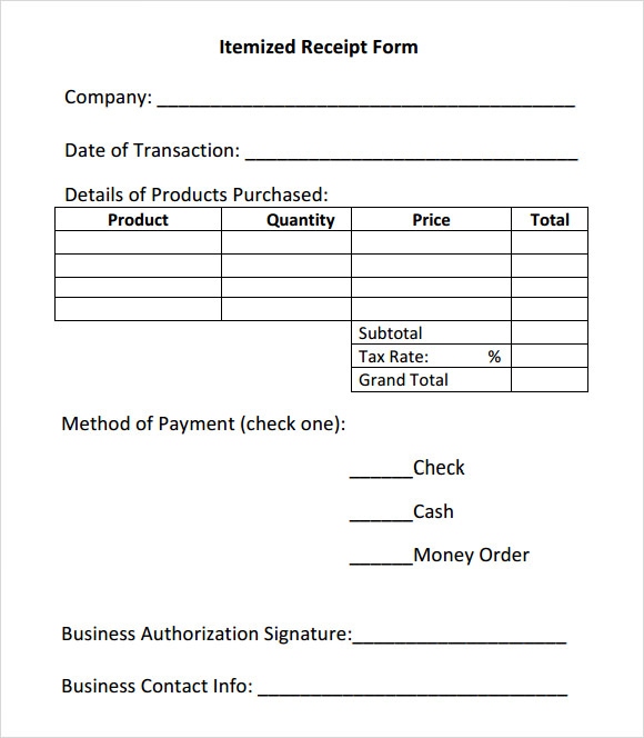 Itemized Receipt Template - 7 Free Download for PDF | Sample Templates