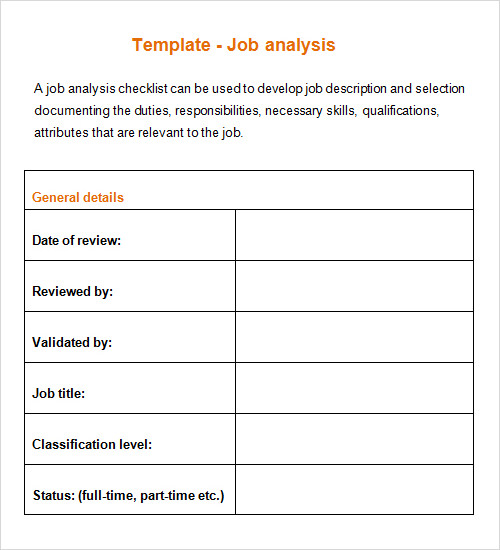 Job Analysis Template - Canelovssmithlive.Co