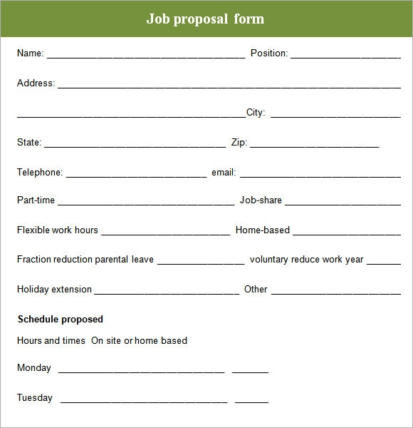 Job Proposal Form  Hlwhy