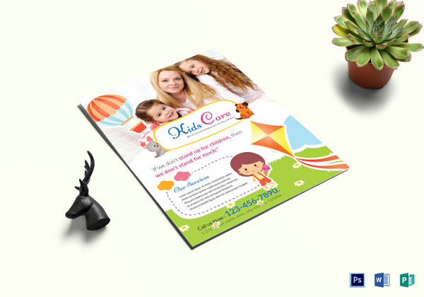 kids care center flyer template in psd