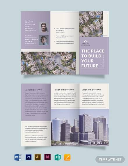 land realestate investor tri fold brochure template