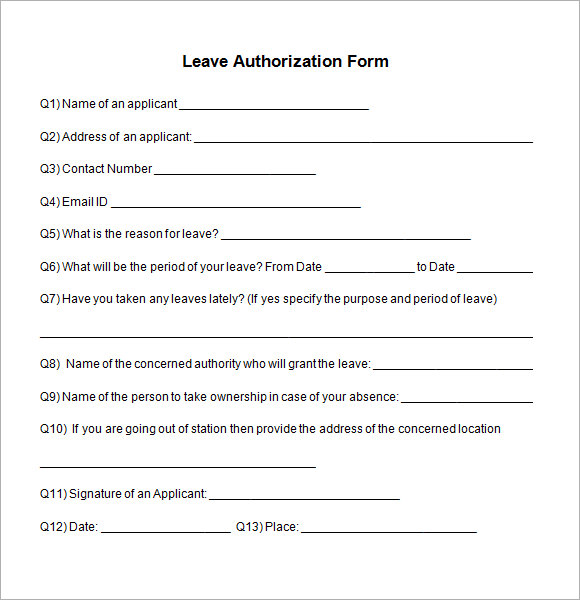 Sample Leave Authorization Form 5 Free Documents in PDF – Request for Leave Template