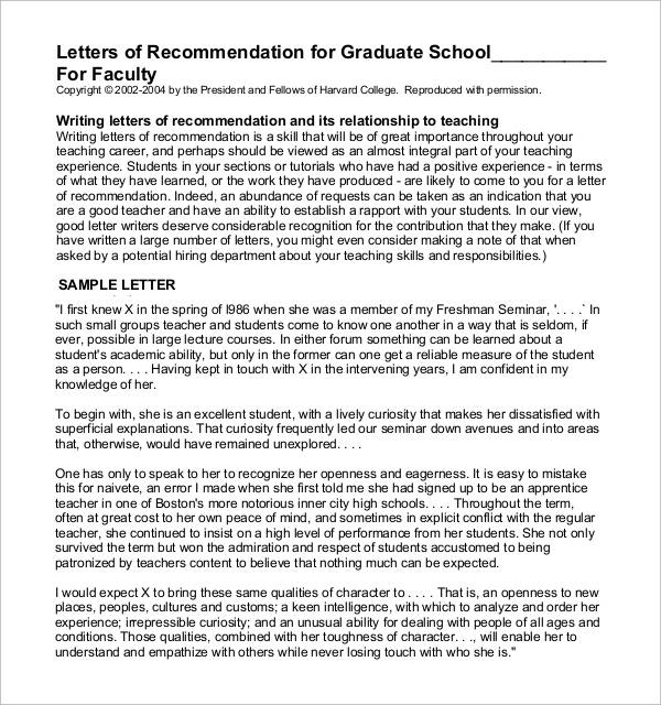 letter of recommendation for graduate school scholarship