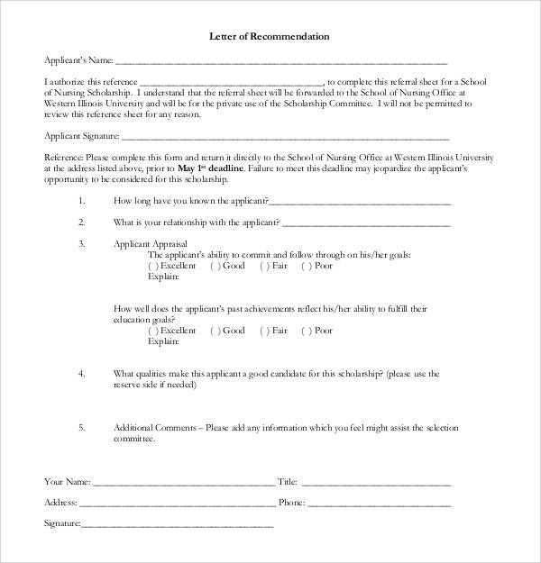Letters Of Recommendation For Scholarship | 30 Sample Letters Of Recommendation For Scholarship Pdf Doc