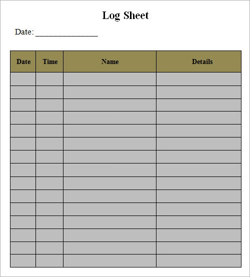 Excel Log Sheet  PetitComingoutpolyCo