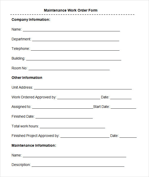 Sample Work Order Forms