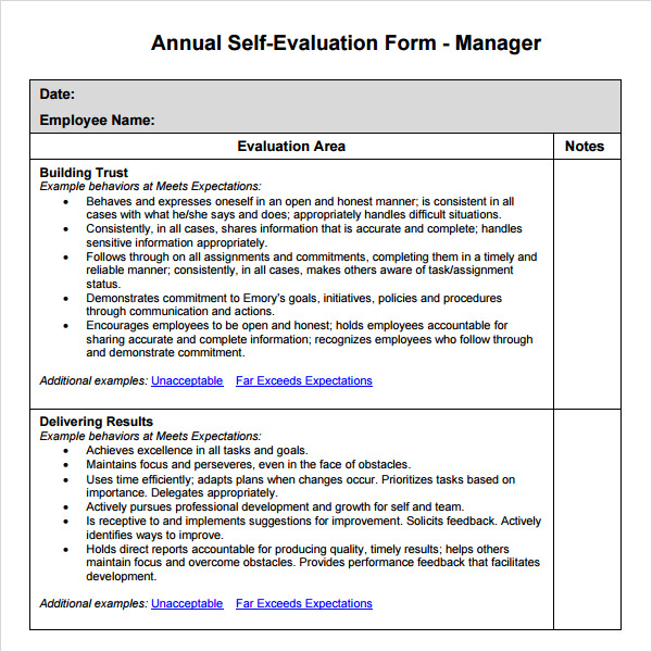 Manager Self Evaluation Template  Employee Self Evaluation Forms Free