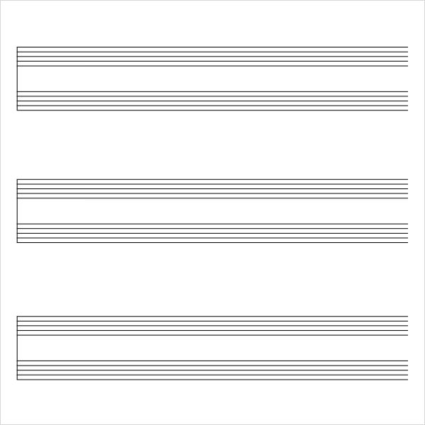 9 sample music staff paper templates to download for free