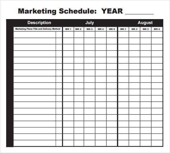 sample marketing schedule template