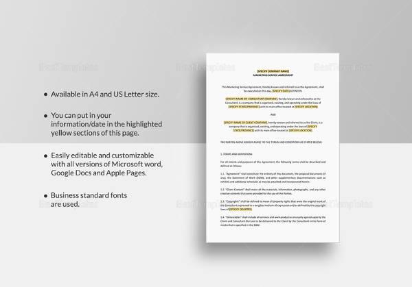 sample marketing agreement