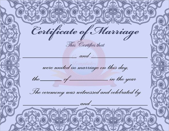 Sample Marriage Certificate Template 20 Documents in PDF Word – Blank Certificate Templates for Word