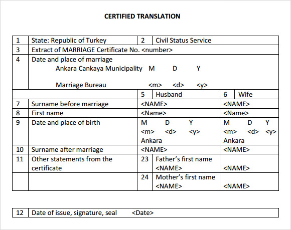 mexican marriage certificate translation template - sample marriage certificate template 6 documents in pdf