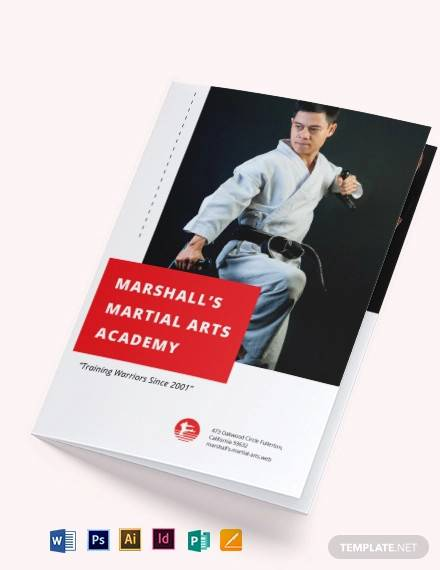 martial arts school bi fold brochure template