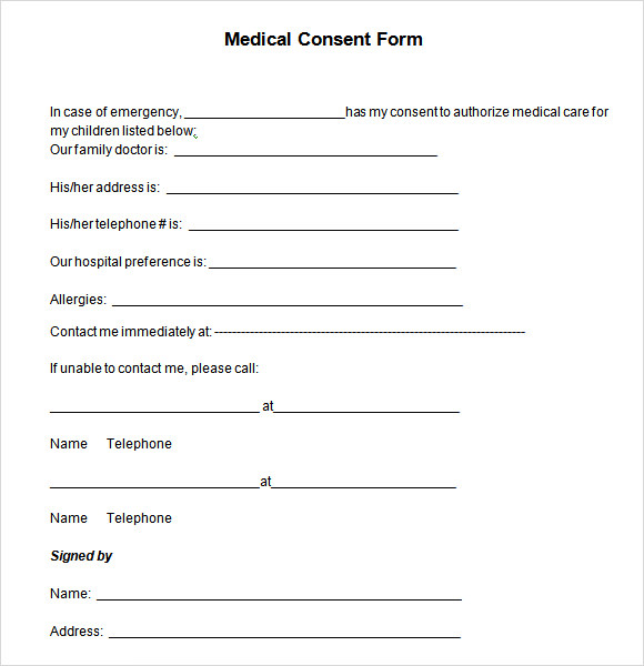 Medical Consent Form   Download Free In Pdf