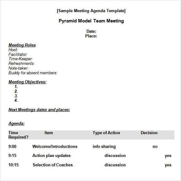 meeting agenda template format