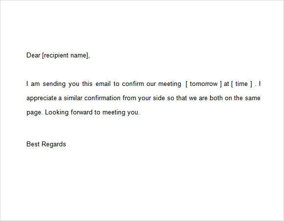 10 confirmation email samples pdf word psd sample for Email template to schedule a meeting