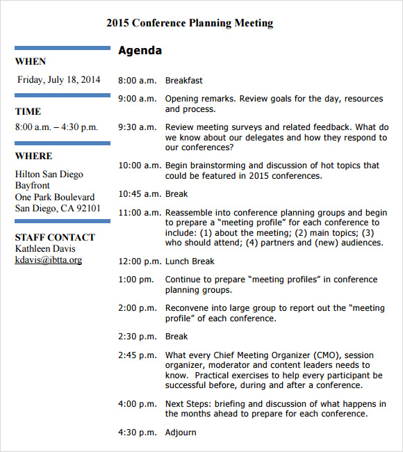 6 sample agenda planner templates sample templates for Planning a conference template