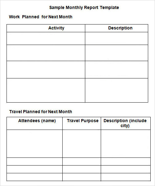 Monthly Report Template  Monthly Summary Report Template