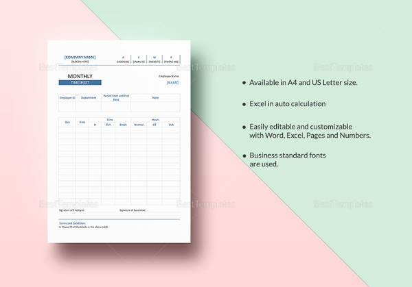 monthly timesheet template in word