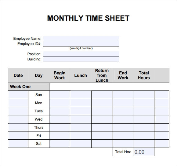 Weekly Timesheet Template - 7 Free Download for PDF