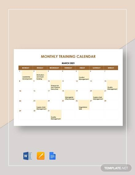 monthly training calendar template