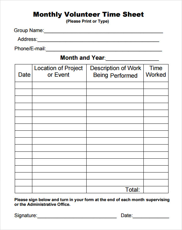 Wonderful Volunteer Sheet Templates