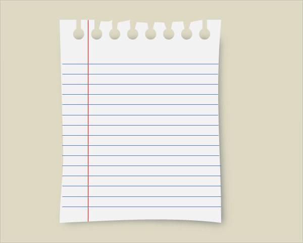 sample notebook paper