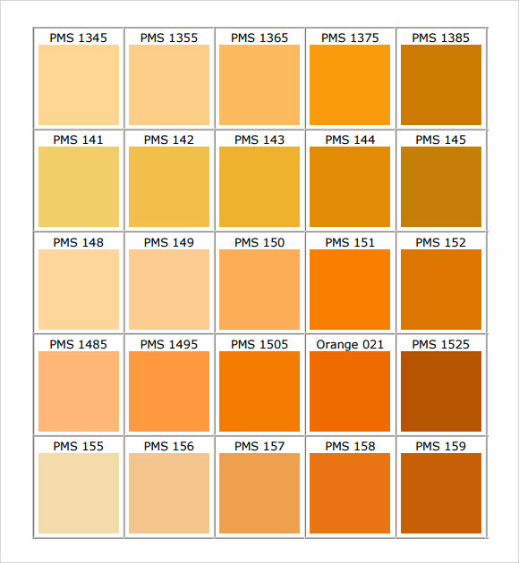 Pms Orange Color Chart Image Gallery  Hcpr