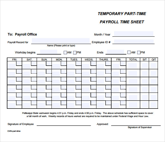 Payroll Timesheet Template   Download Free Documents In Pdf Excel