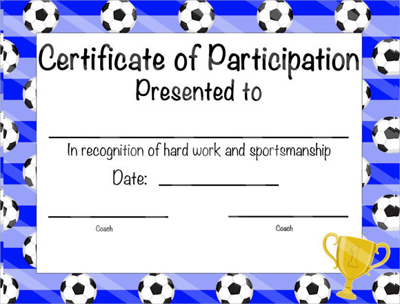 7 Sample Participation Certificate PSD PDF – Certificate of Participation Template