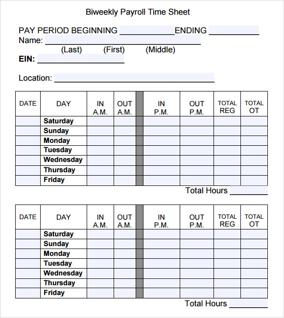 Payroll Timesheet Template 11 Download Free Documents in PDF Excel – Sample Blank Timesheet