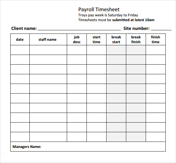 Payroll Timesheet Template - 8+ Free Download for PDF , Excel | Sample ...