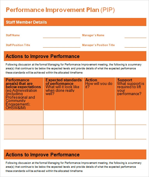 27 plan templates sample templates for Template for action plan for performance improvement