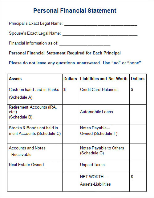 Statement Template 9 Download Free Documents in PDF Word – Asset and Liability Statement Template