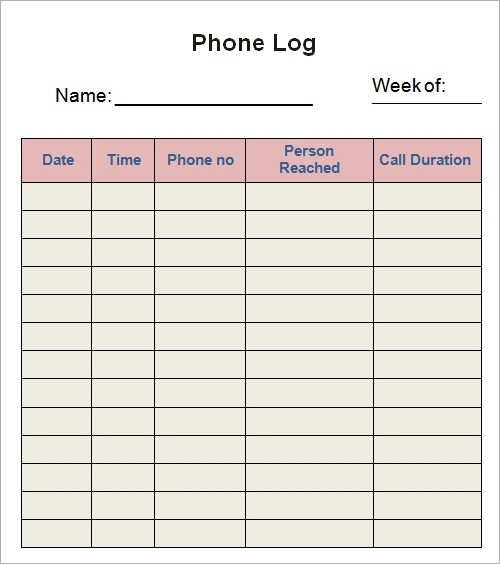 Log Template - Download Documents in PDF , Word , Excel