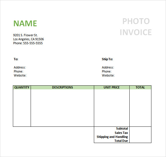 Photography Invoice Sample   Documents In Pdf Word