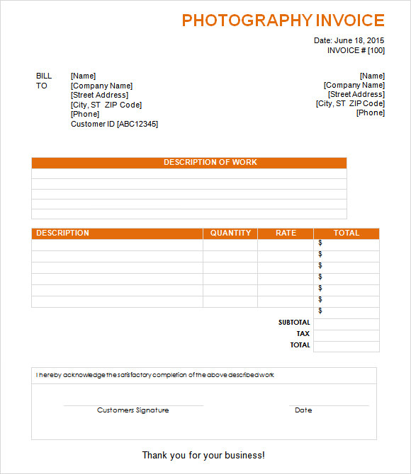 free photography invoice template download  8  Photography Invoice Samples, Examples, Templates | Sample Templates