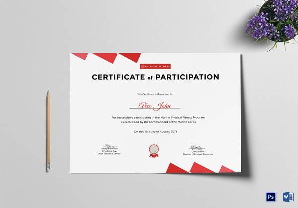19 sample participation certificate psd pdf physical fitness participation certificate template yadclub Image collections