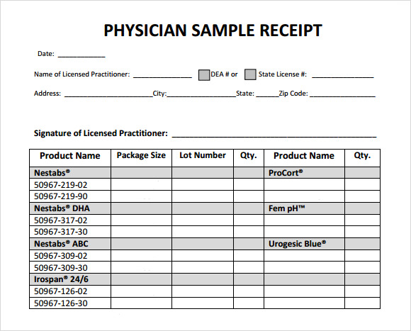 Physician Sample Receipt Form  Basic Receipt Template