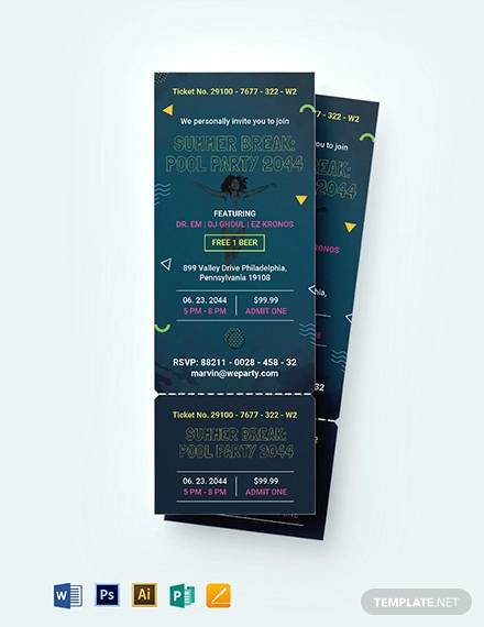 pool party ticket invitation