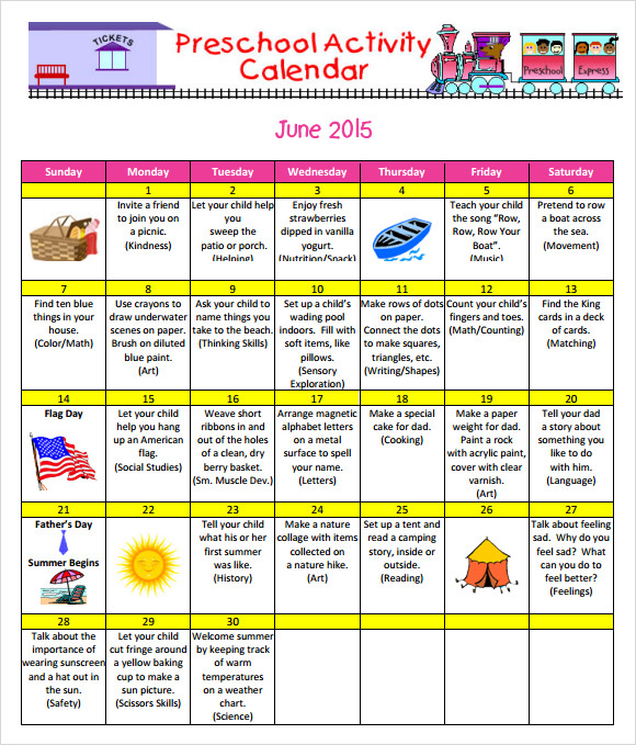 Attractive Preschool Activity Calender Template