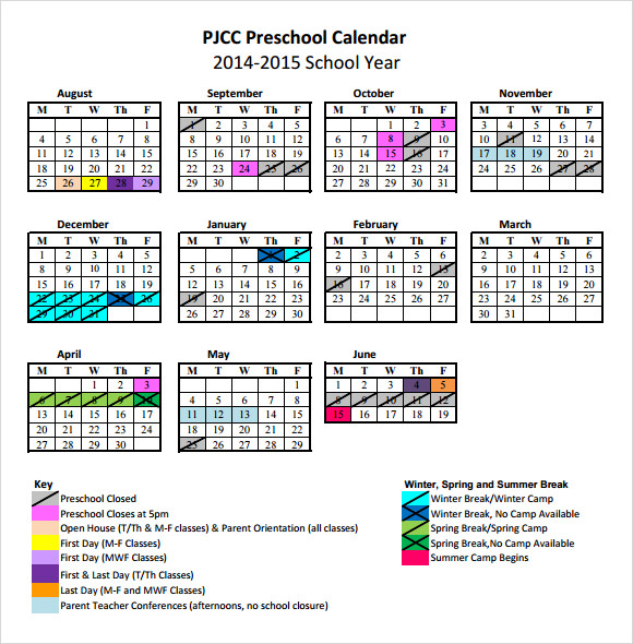 Preschool Calendar Templates   Download Free Documents In Pdf