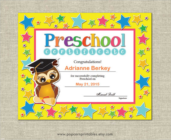 Graduation certificate template 9 premium and free for Pre k award certificate templates