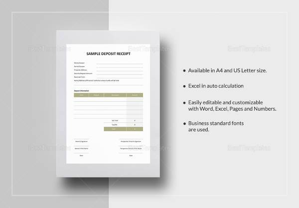 printable deposit receipt template download